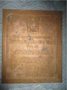 Bronze Honor Park plaque dedicated in 1946 by Woodville Garden Club